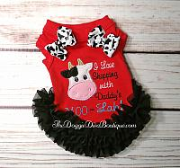 """I love shopping with Daddy's Moo-Lah"" Dog T Shirt, with or without Ruffles & Bows"