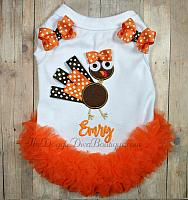 Turkey Embroidered Dog T Shirt with or without Orange Ruffles