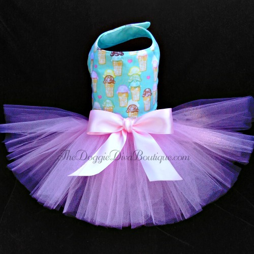 Aqua Ice Cream Cone Dog Tutu Dress