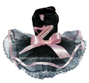 Black with Pink Glitter Shoes Dog Tutu Dress