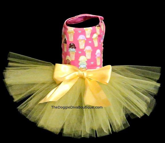 Pink Ice Cream Cone Dog Tutu Dress
